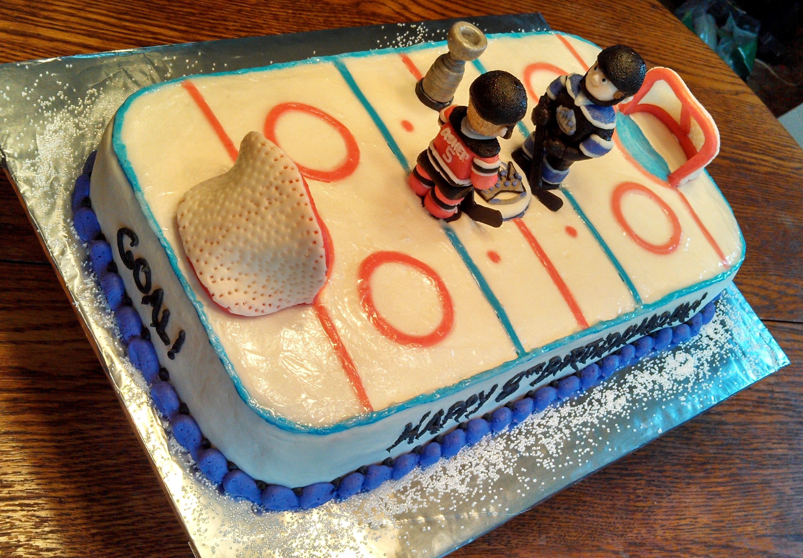 Hockey Rink Birthday Cake The Los Angeles Kings Vs New Jersey Devils Complete With Stanley Cup Players Are Boy Aidan And His