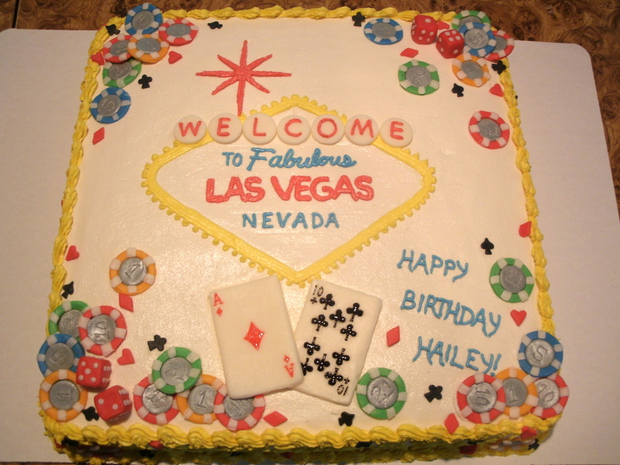 A 21st Birthday Cake With Las Vegas Theme All Buttercream Edible Cards Chip Dice And Symbols Made Out Of Candy Clay