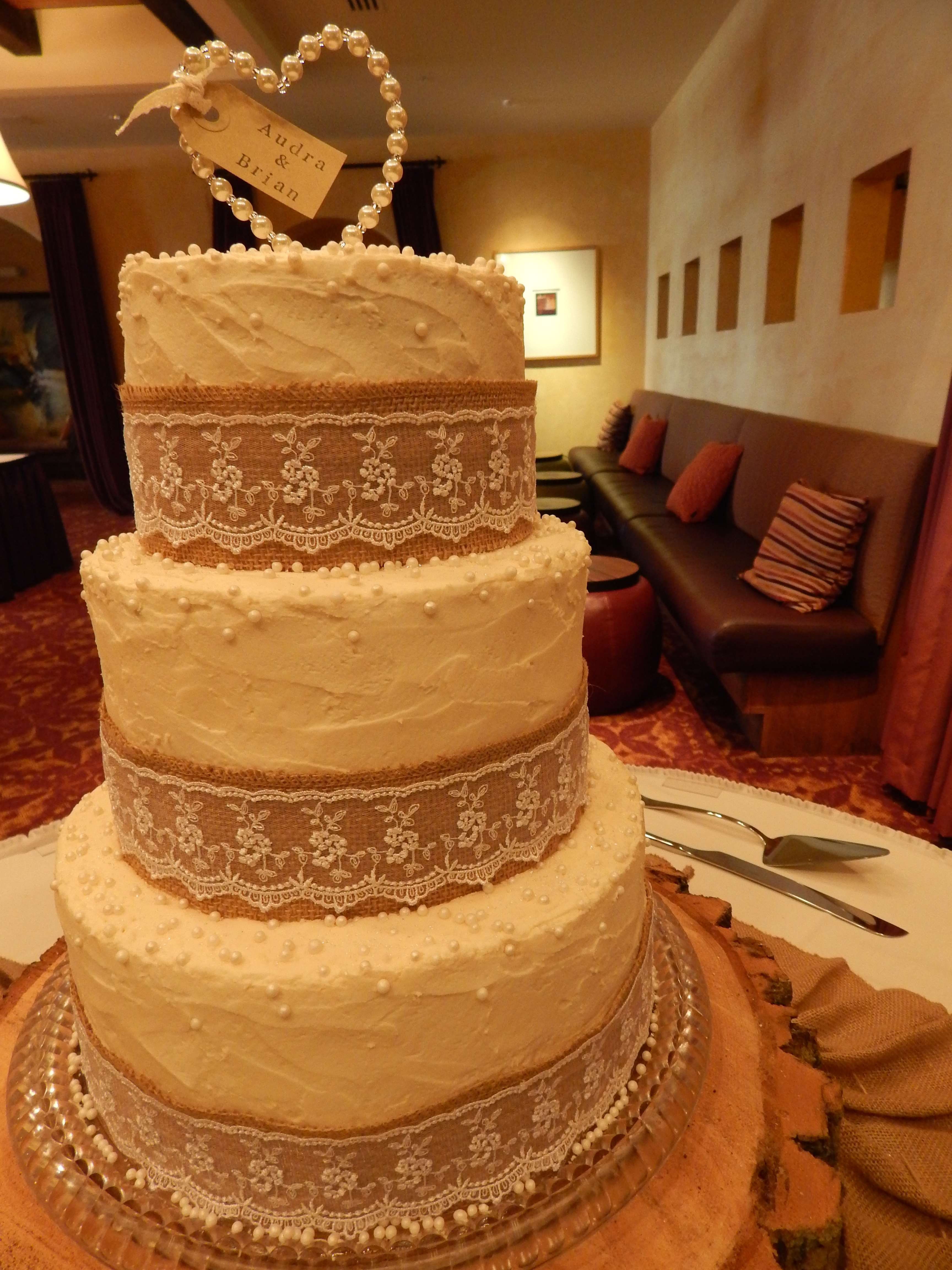 Burlap And Lace 3 Tier Wedding Cake Cakecentral Com