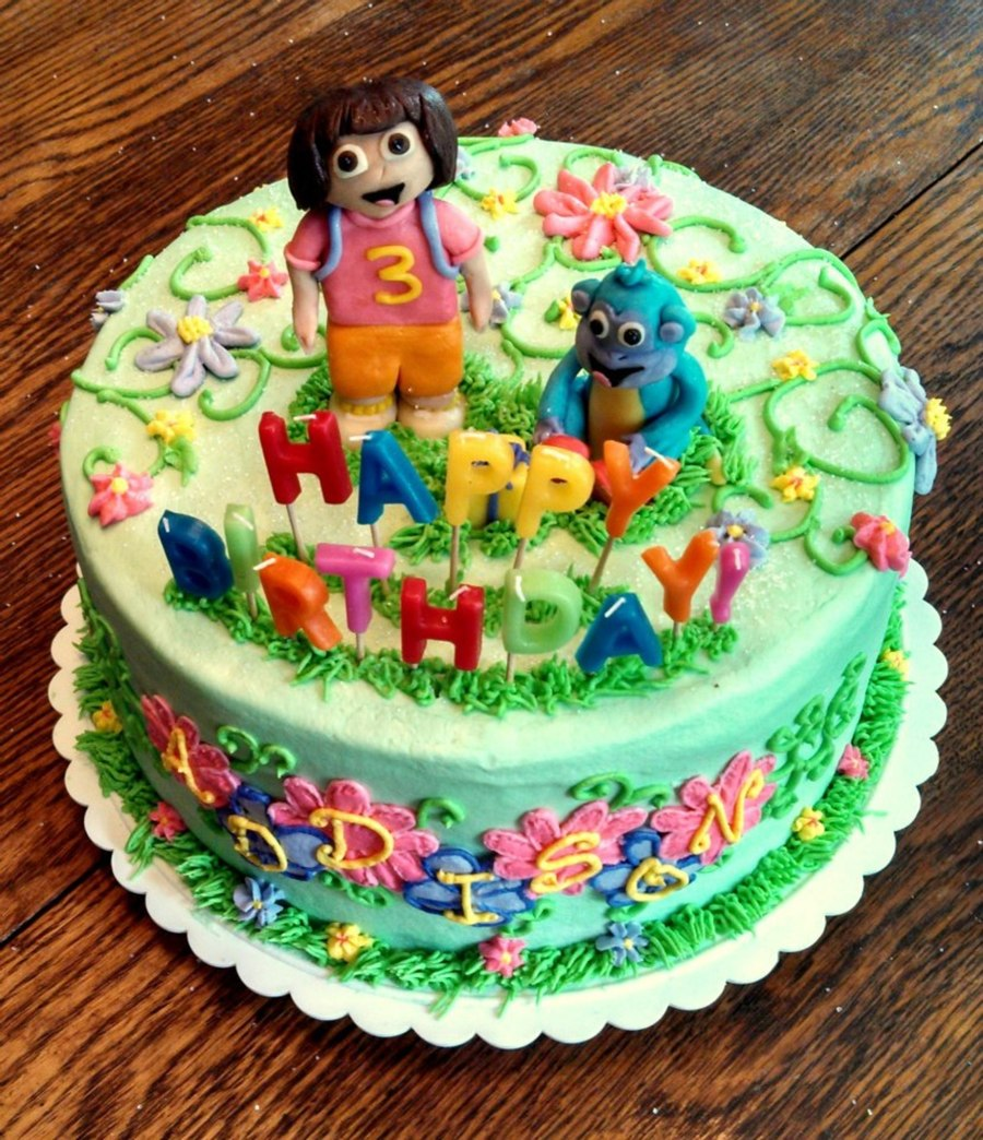 Dora And Boots Birthday Cake
