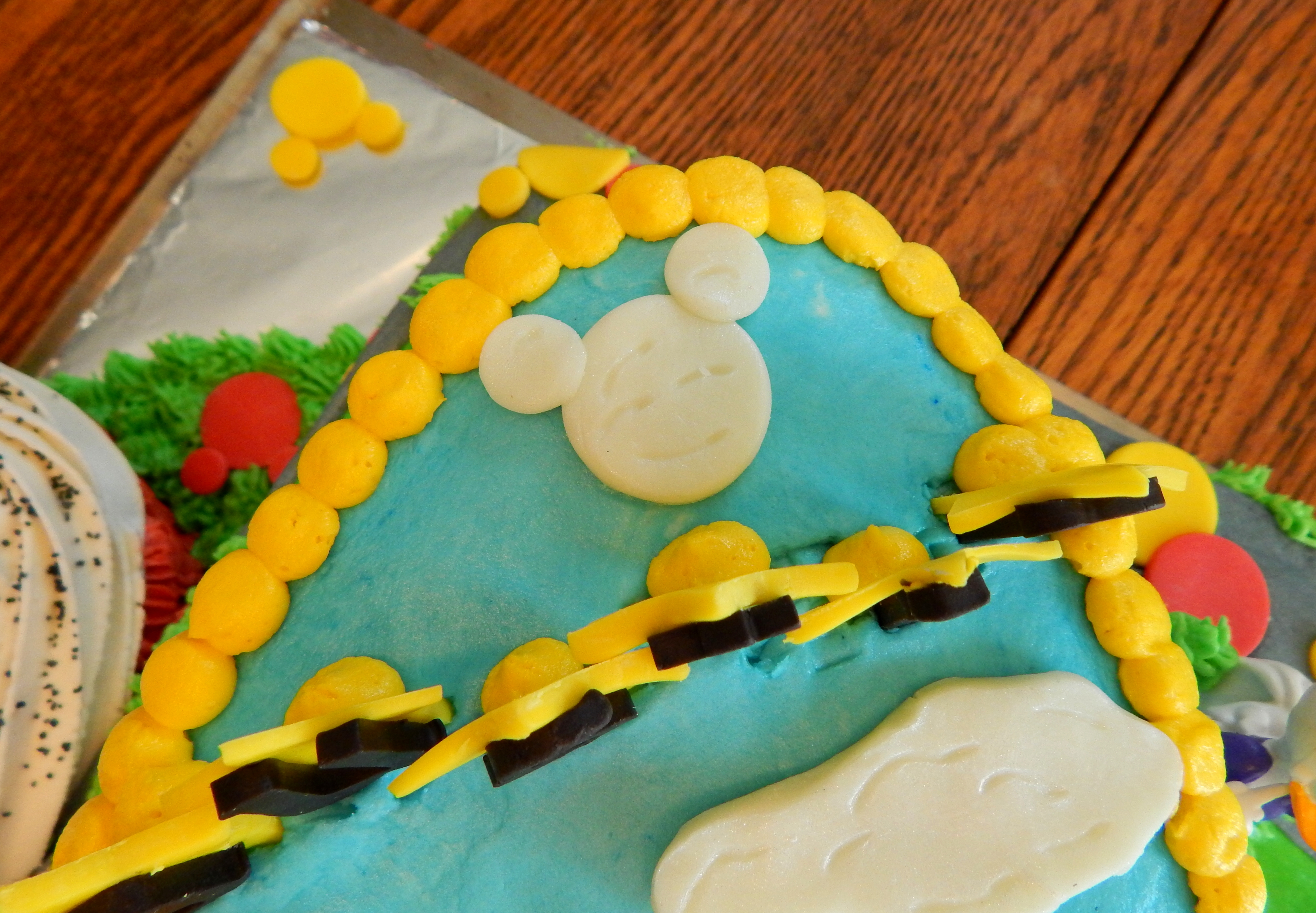Austins Mickey Mouse Clubhouse First Birthday Cake And Smash Cupcake 12 Inch Square Single Layer Bottom With A Number 1 Carved From 10