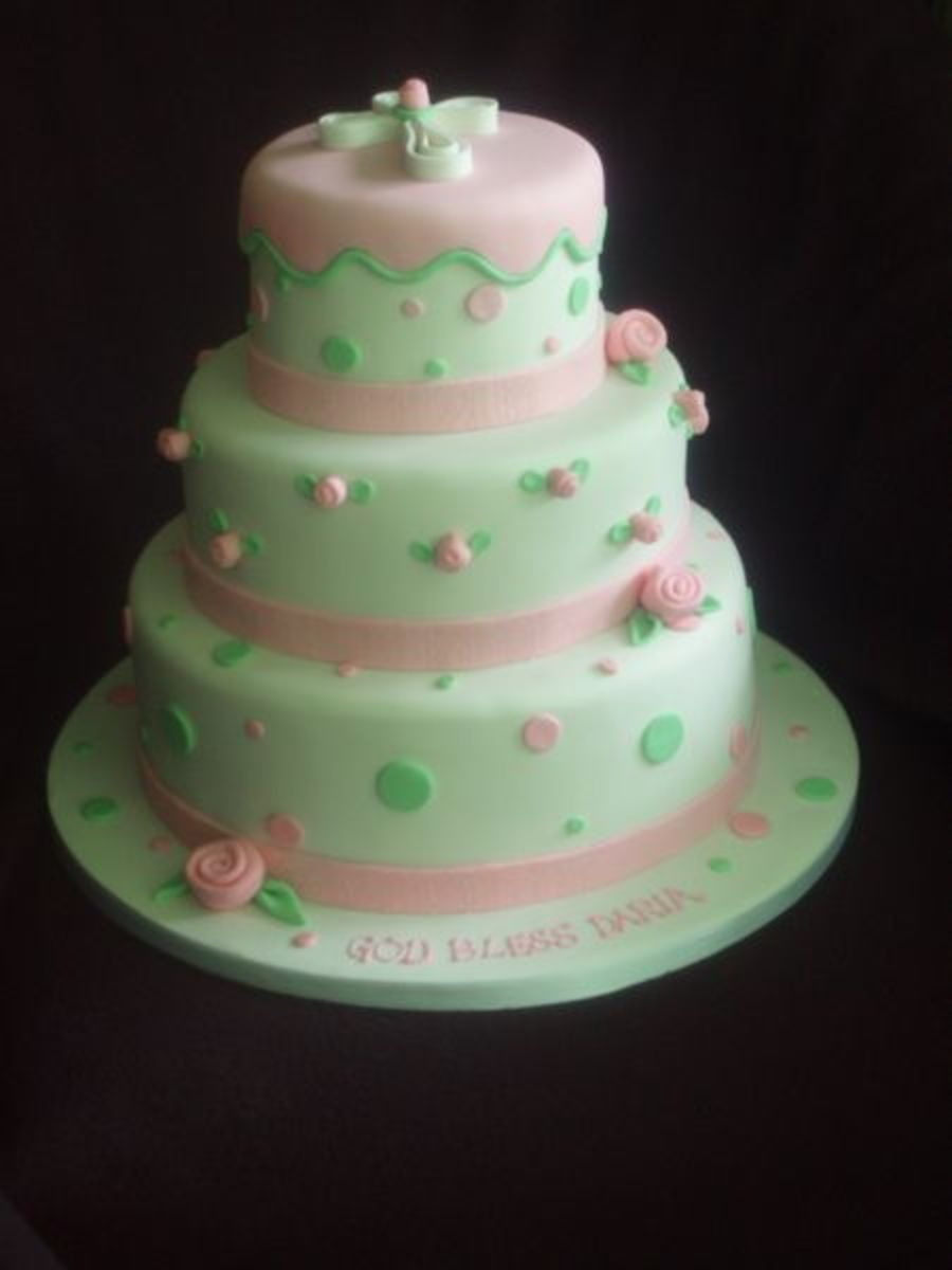 Polka Dot And Rosebuds Modern  on Cake Central