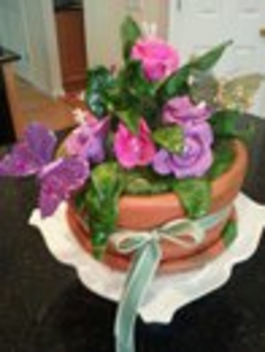 Fantasy Flower Pot on Cake Central