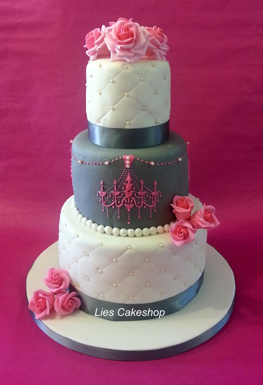 Pink & Grey Wedding Cake  on Cake Central