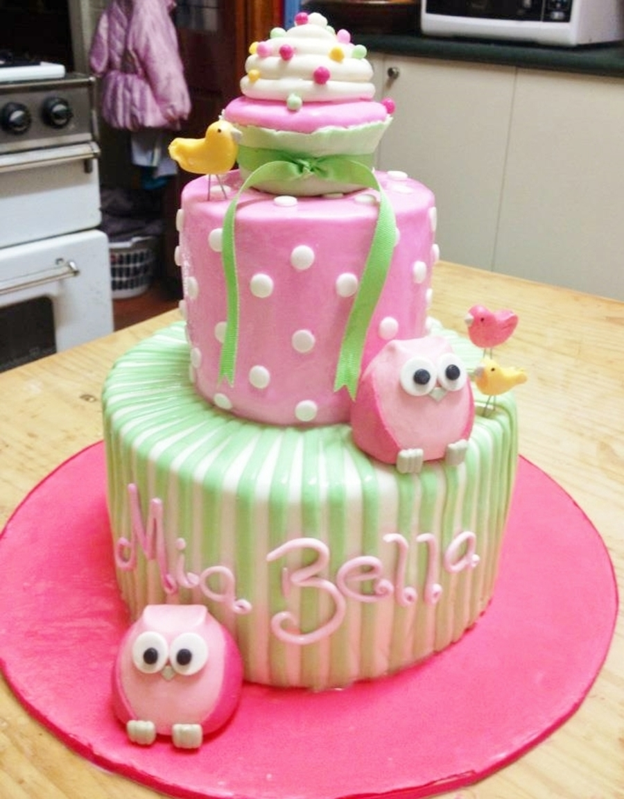 Green & Pink Girls Bday Cake on Cake Central