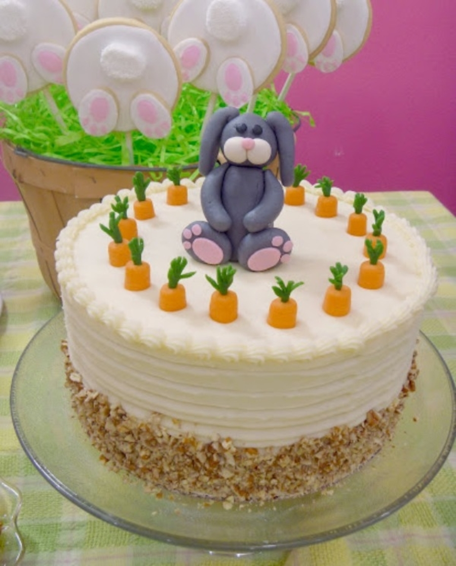 Easter Carrot Cake Decorating Ideas : Easter Carrot Cake With Bunny Topper - CakeCentral.com