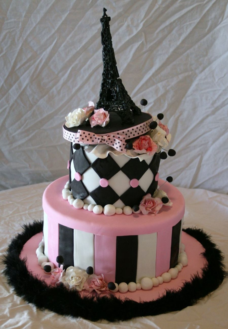 Pink And Black Eiffel Tower Cakecentral Com