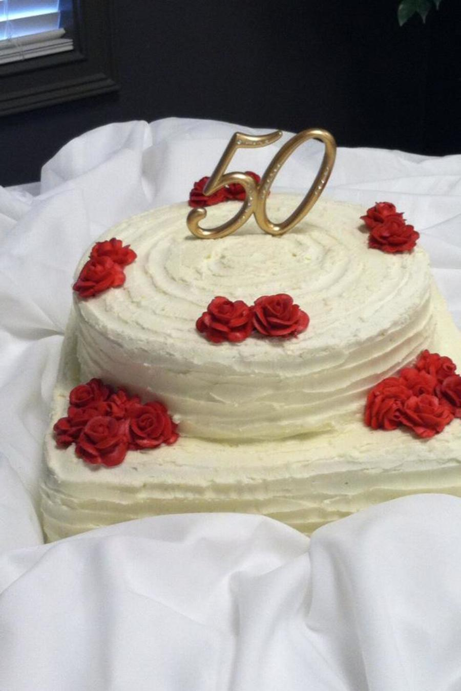 50Th Anniversary Textured Cake With Red Roses on Cake Central