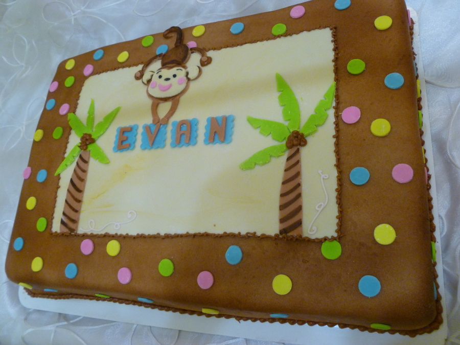 This Monkey Was On Her Invitation Actually So Were The Trees And Polka Dots She Wanted A Cake That Looked Like Her Invitation Cake Is A on Cake Central