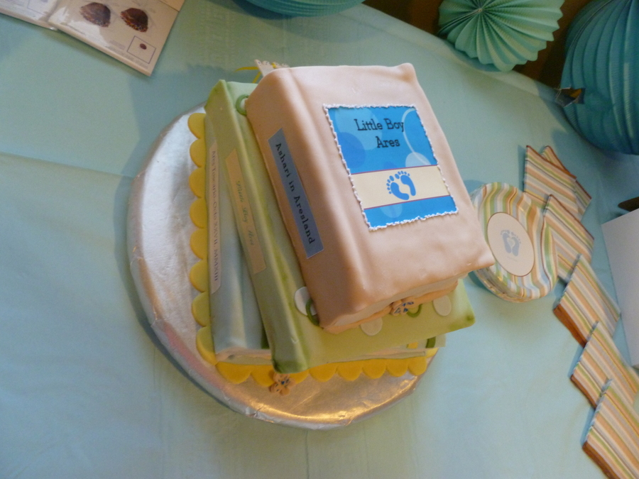 baby shower cake first attempt at making cakes look like books it