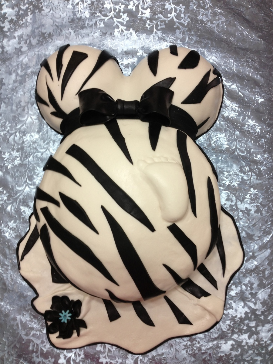 Zebra Baby Bump on Cake Central