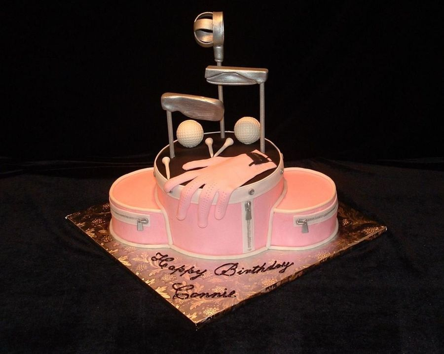 Pink Golf Bag & Golf Clubs on Cake Central