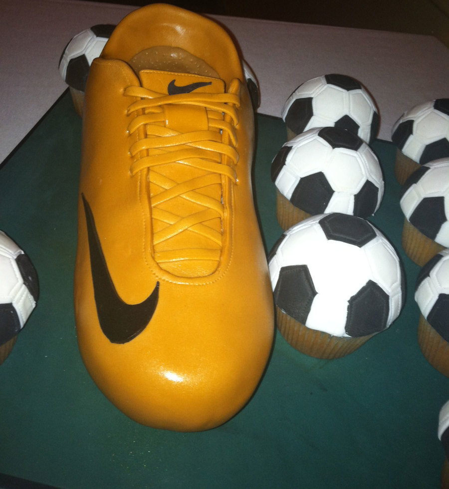 Nike Cleat Cake With Soccer Ball Cupcakes on Cake Central