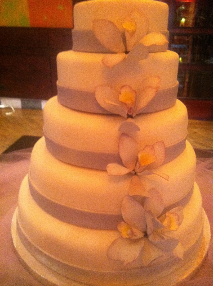 Lavender Orchid Wedding Cake on Cake Central