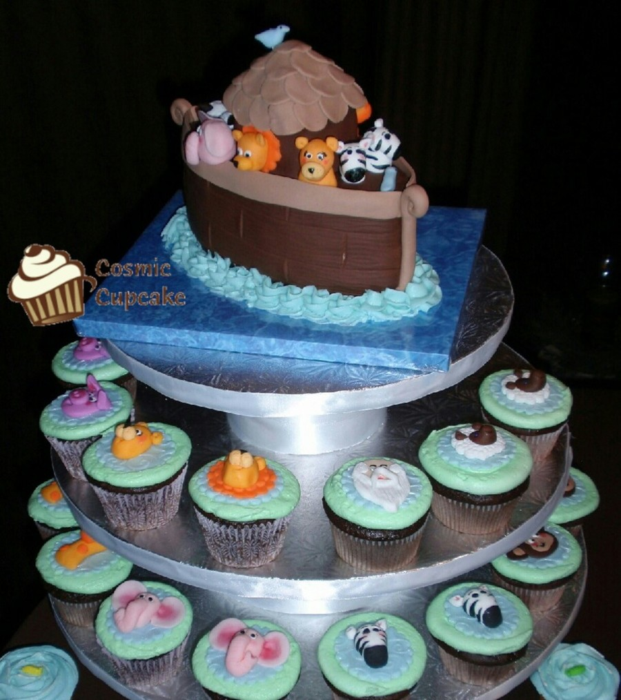 Noah's Ark First Birthday Cake & Cupcakes  on Cake Central