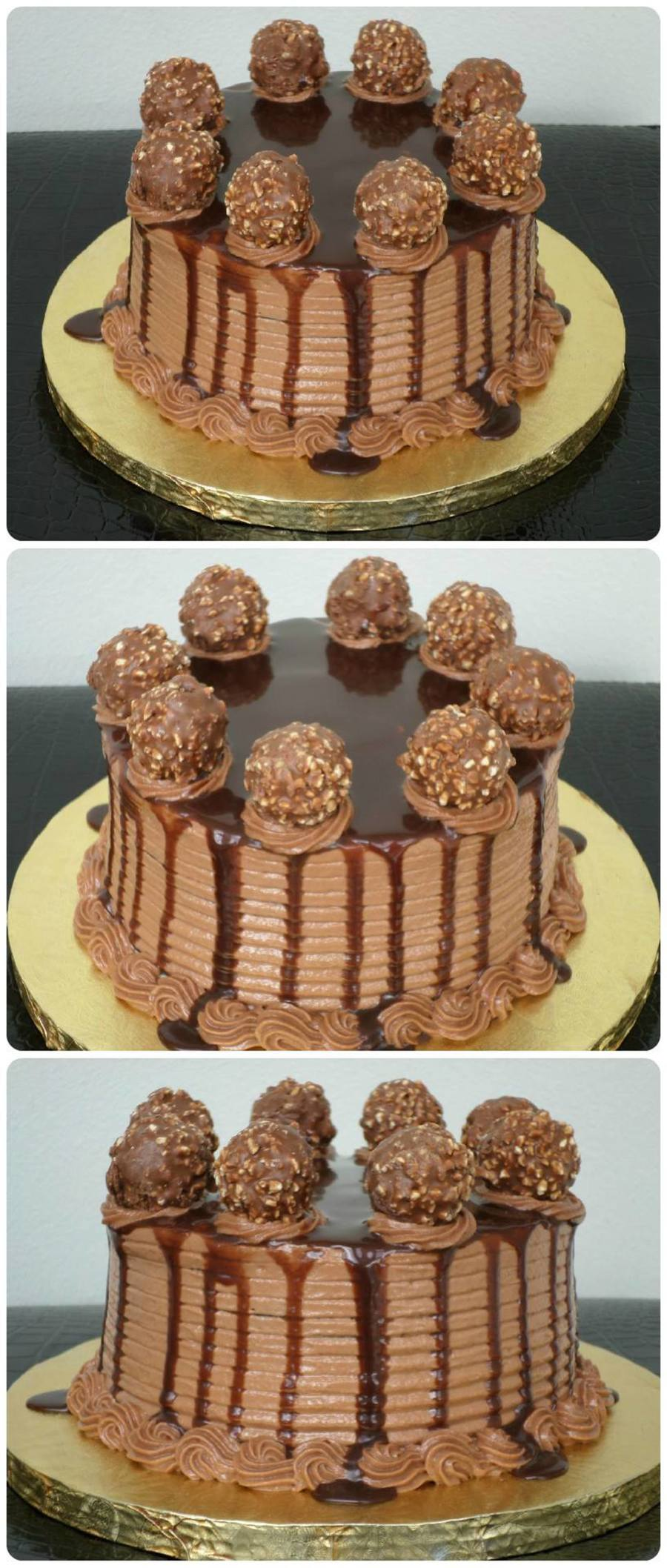 Chocolate Cake With Nutella Frosting, Chocolate Ganache And Ferrero Rocher! Yum! on Cake Central