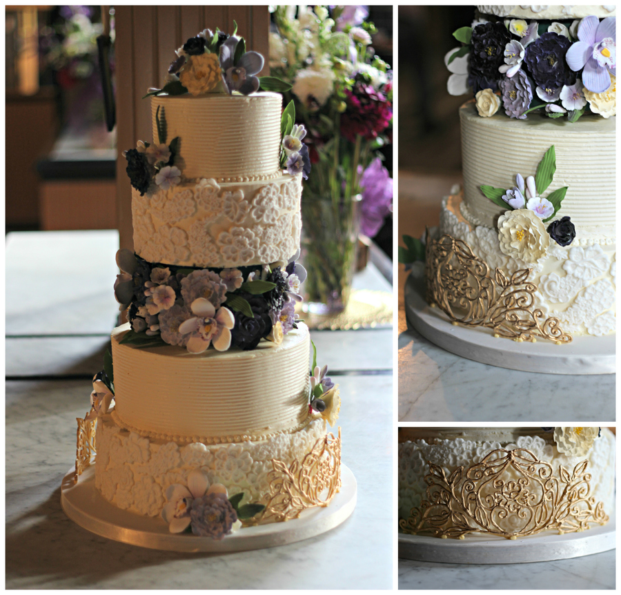 Buttercream Cake With Fondant Lace And Gold Ri Cage on Cake Central