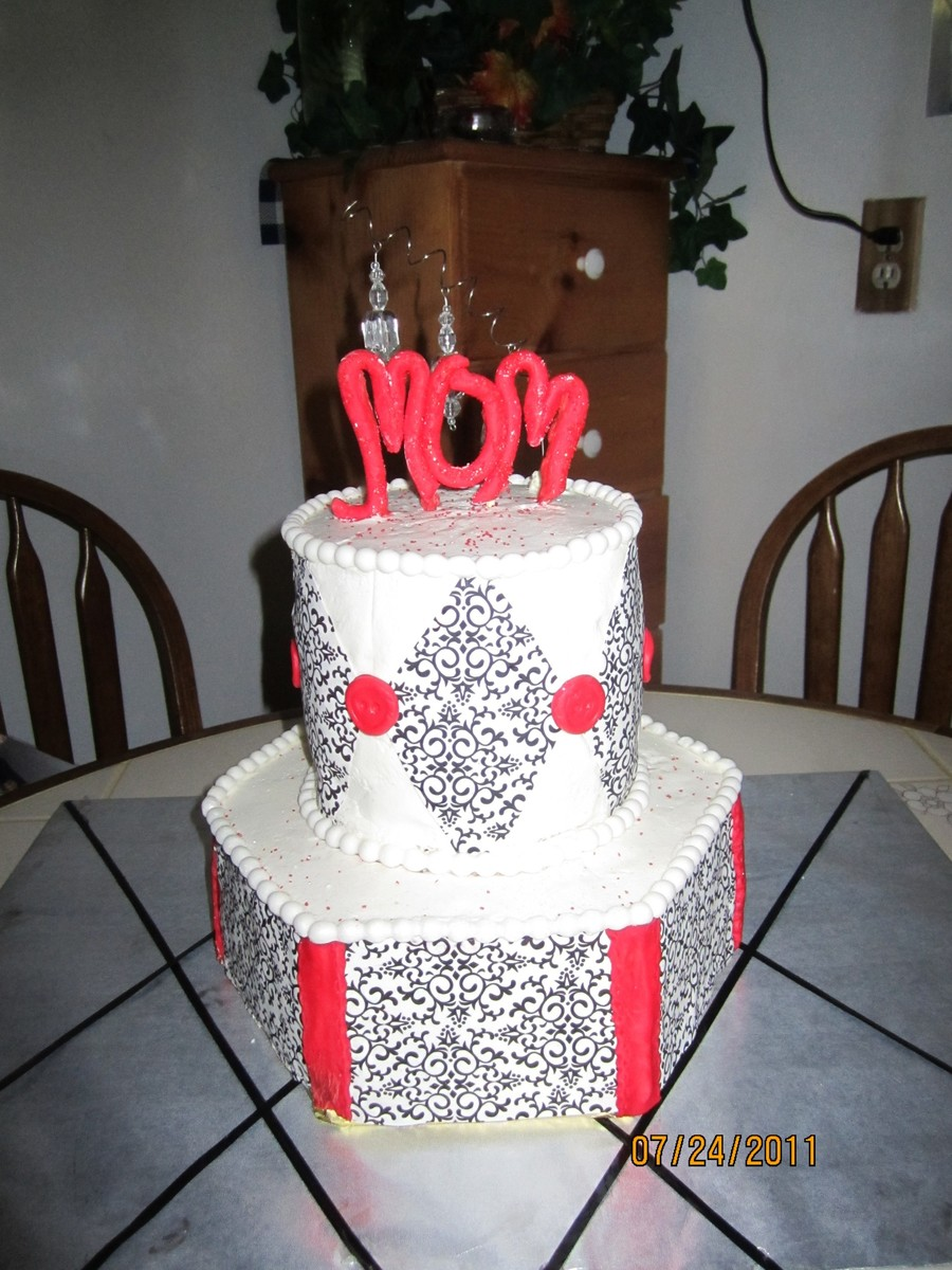 Black White And Red Birthday Cake  on Cake Central