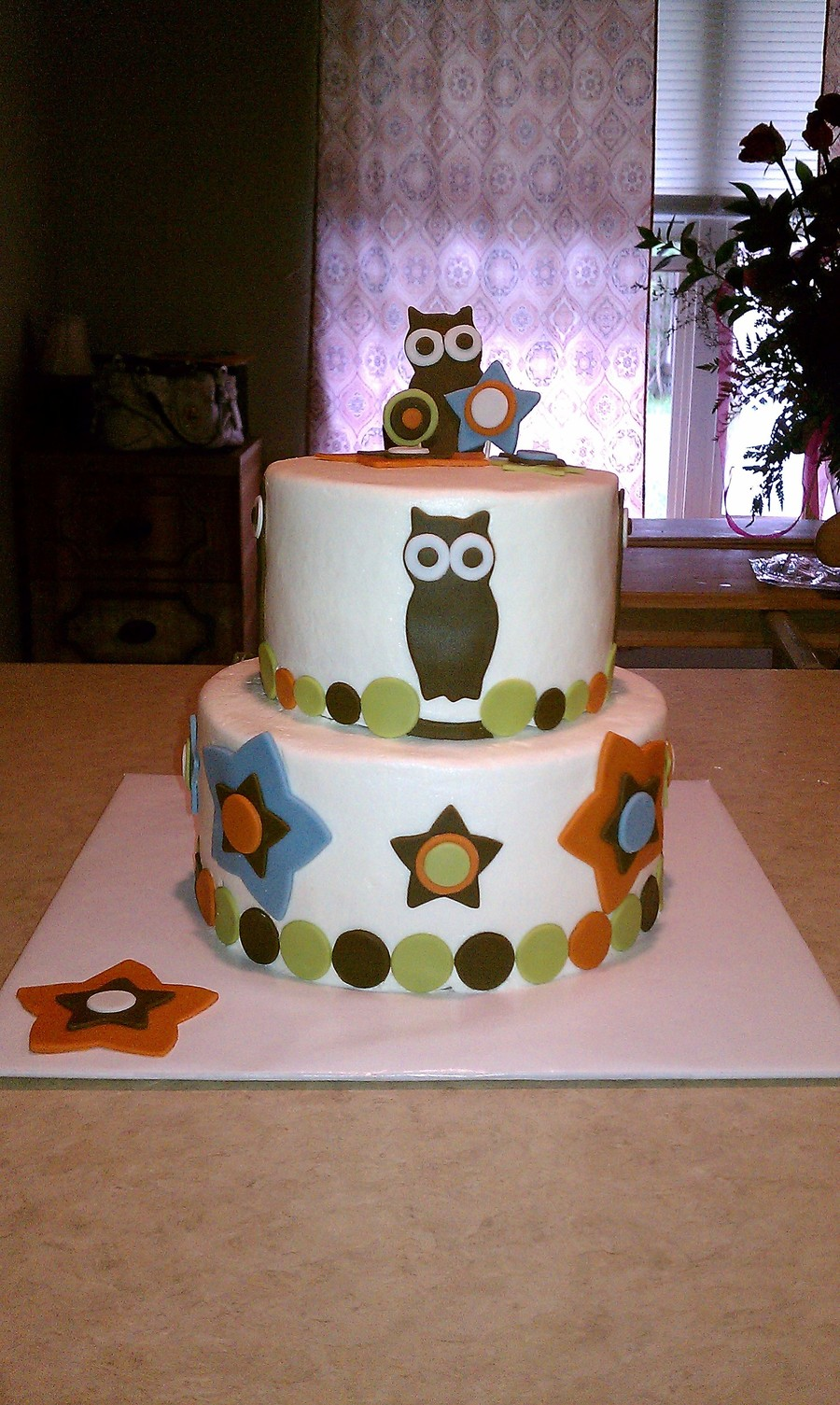 Owl Themed Baby Shower Cake  on Cake Central