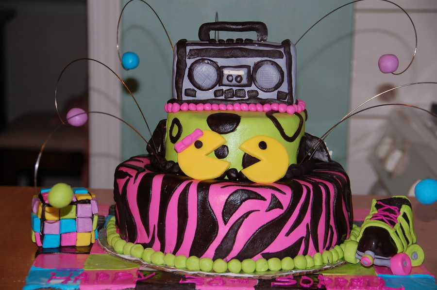 80s Themed Cake To Go With The Party Inspired By Cakes Here On Cc Bottom Tier Is Chocolate Fudge Top And Boom Box Are Gluten Free As Per