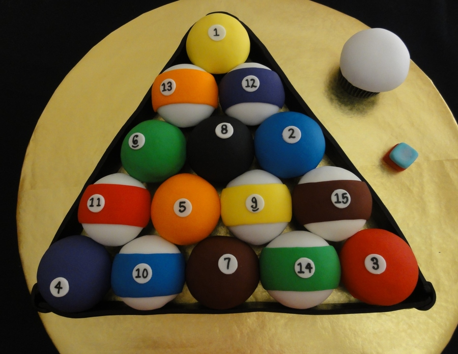 Pool Ball Birthday Cupcakes on Cake Central