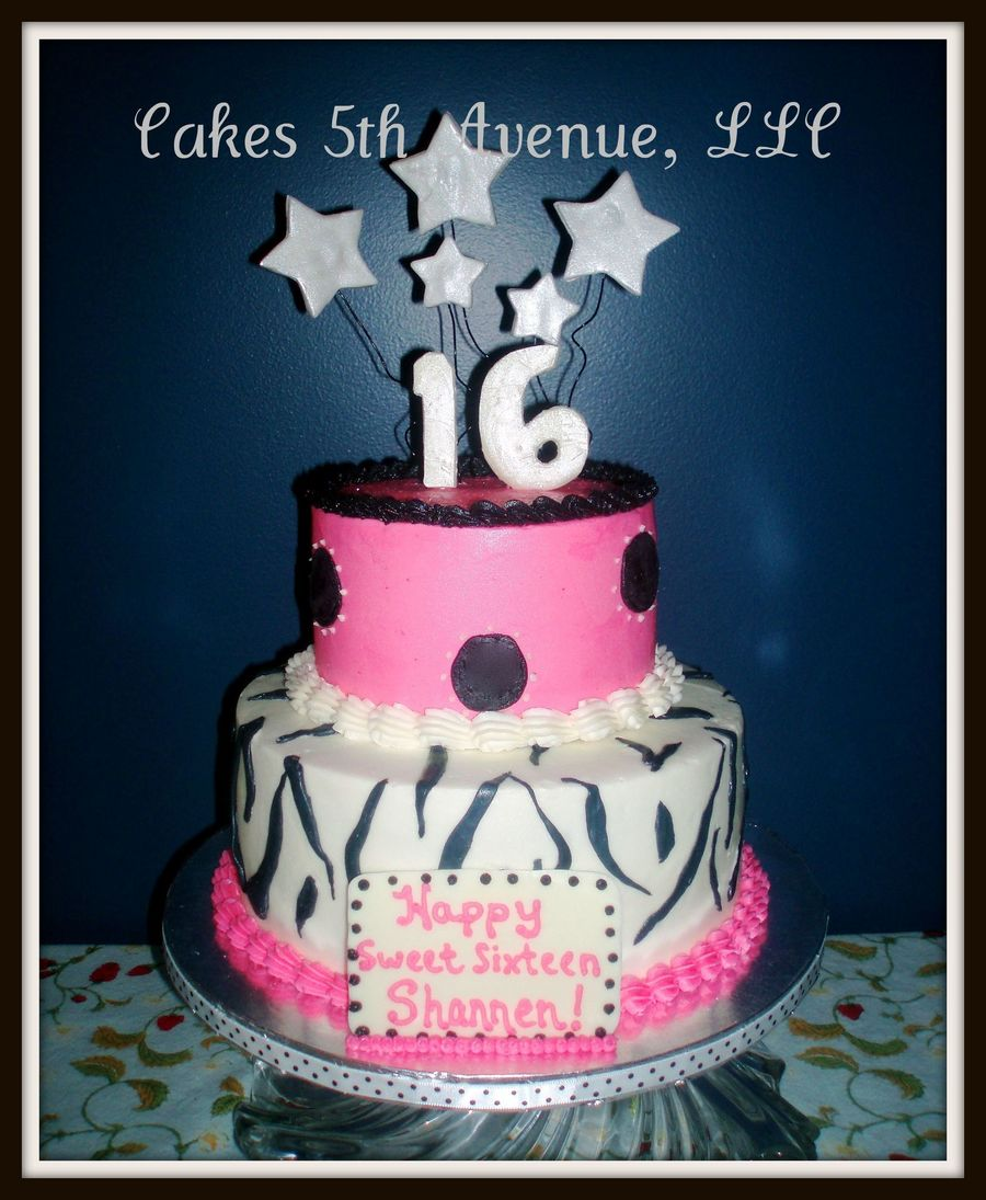 Pink And Black Sweet 16 Cake Cakecentral Com