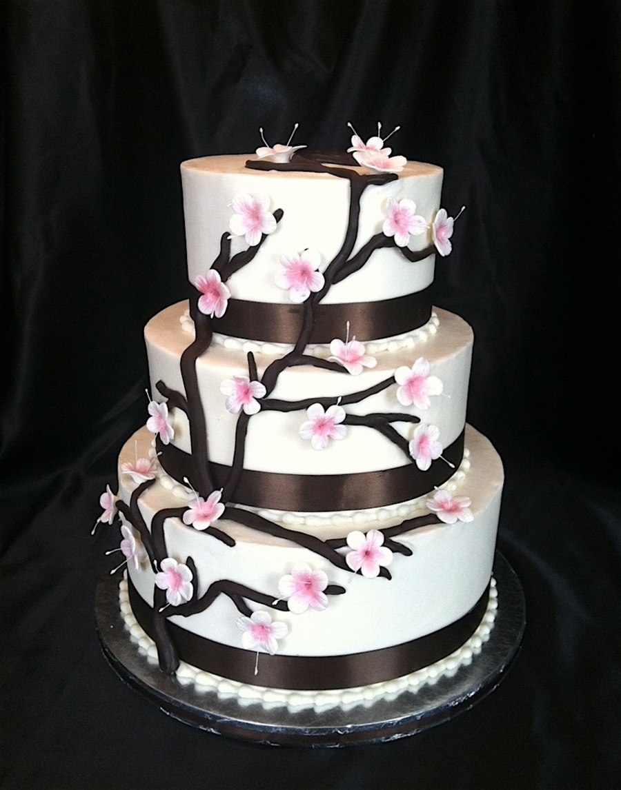Cherry Blossom Wedding Cake on Cake Central