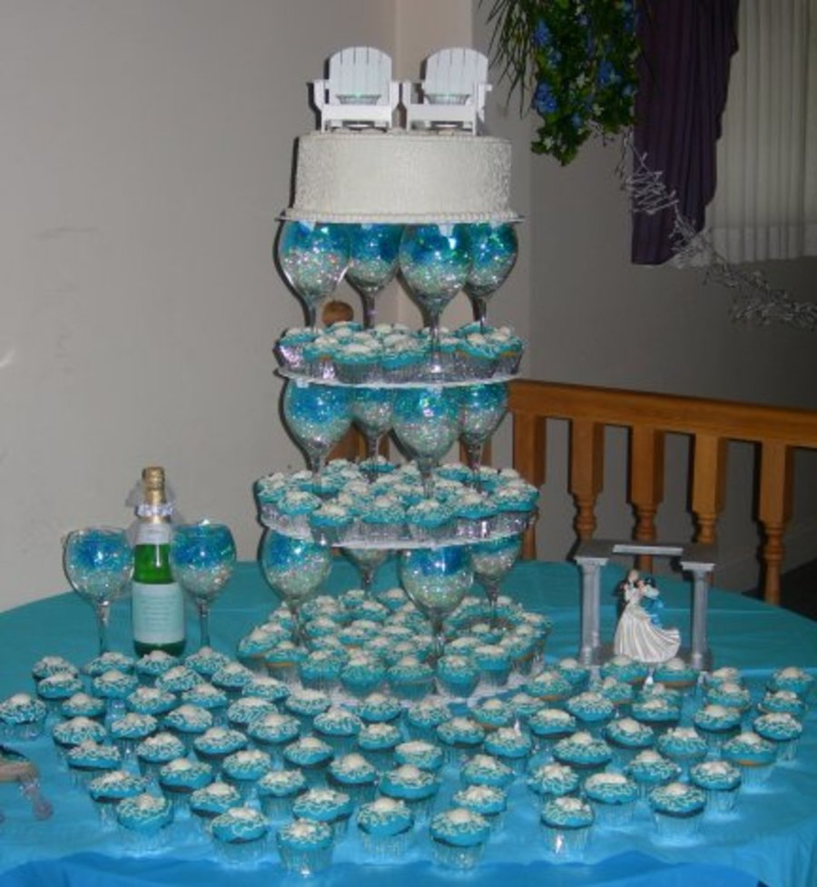 beach theme wedding cake stand themed cupcake tower cakecentral 11166