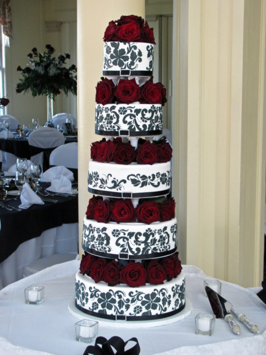 Black, White & Red Elegance  on Cake Central
