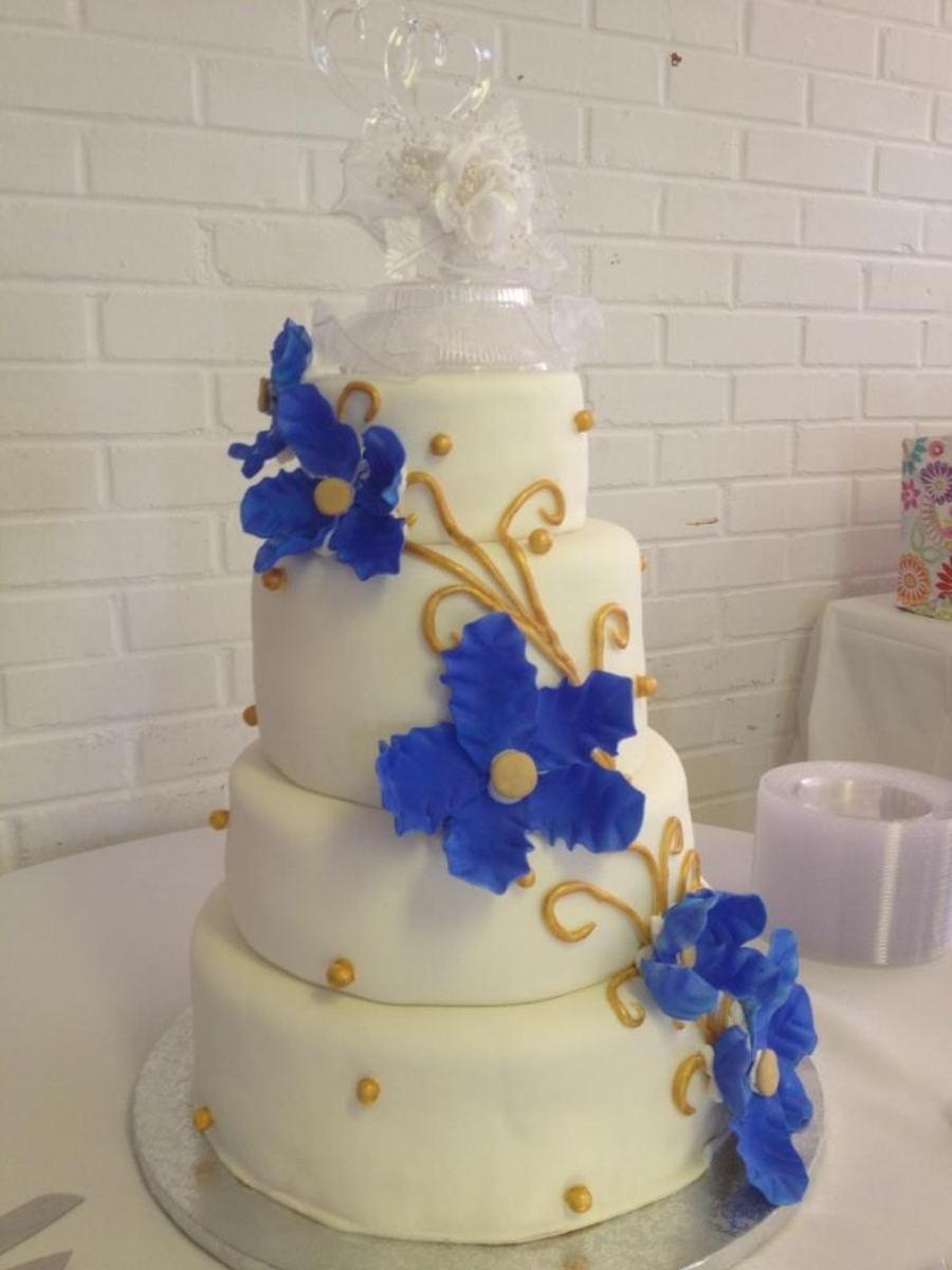 wedding cakes royal blue and gold royal blue and gold wedding cake cakecentral 25398