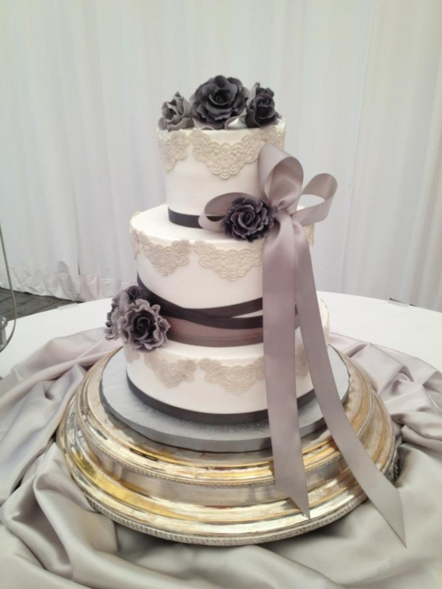 Lavender/gray Wedding on Cake Central
