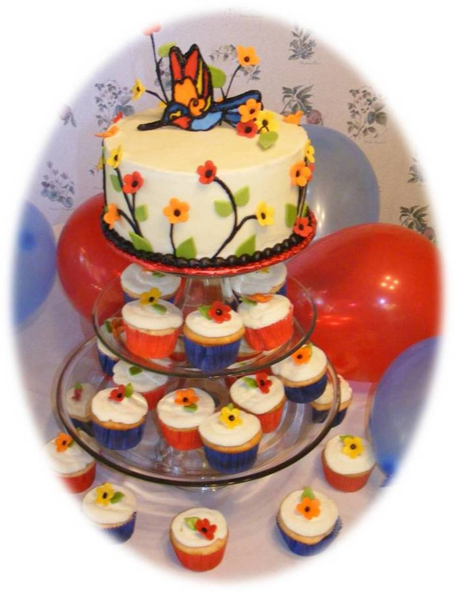 Stained Glass Humming Bird Cupcake Cake on Cake Central