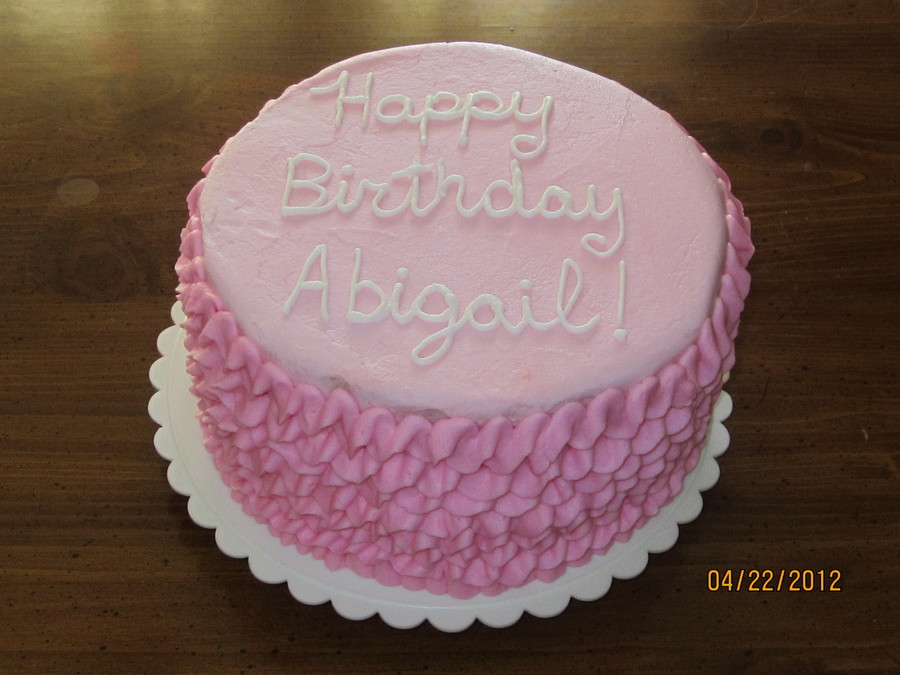 My Youngest Daughters 1st Birthday Cake White Cake With Pink Ruffles