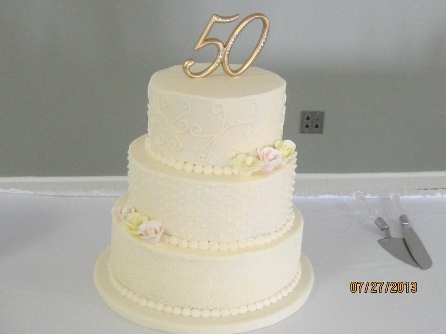 50Th Wedding Anniversary Cake Lemon Cake With Buttercream Icing And Gumpaste Roses