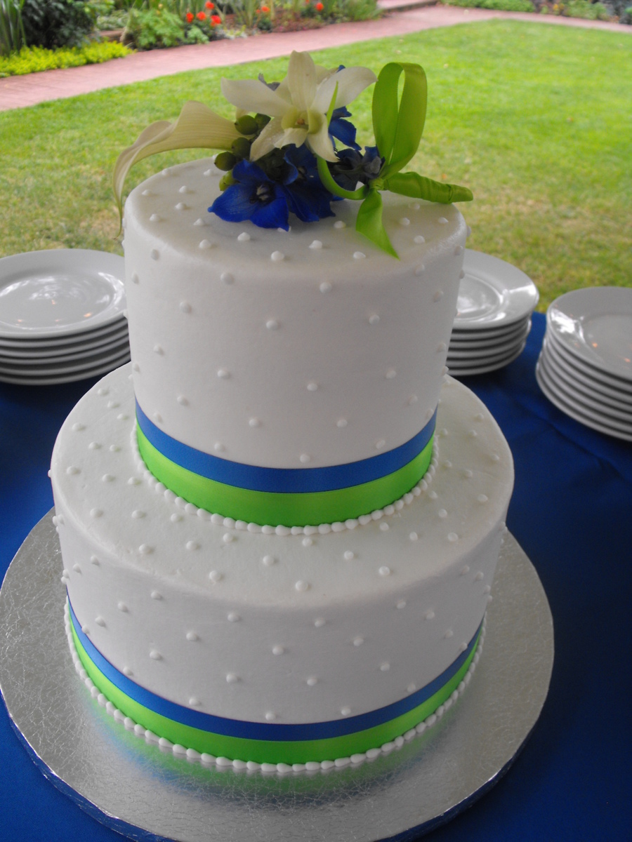 lime green and blue wedding cakes royal blue and lime green wedding cake cakecentral 16894