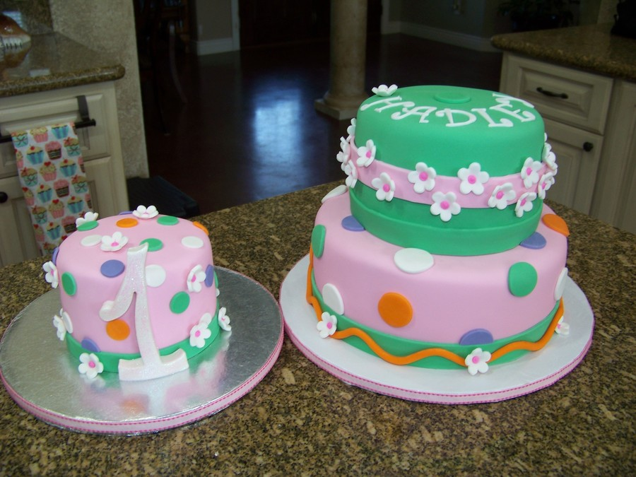 Whimsy 1St Birthday Cake With Smash Cake on Cake Central