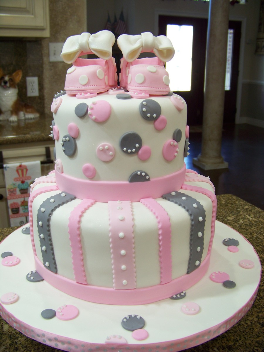 Pink & Gray Baby Shower Cake on Cake Central