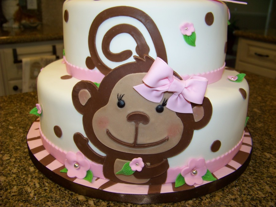 Monkey themed baby shower cake for a baby girl - Baby shower monkey theme cakes ...