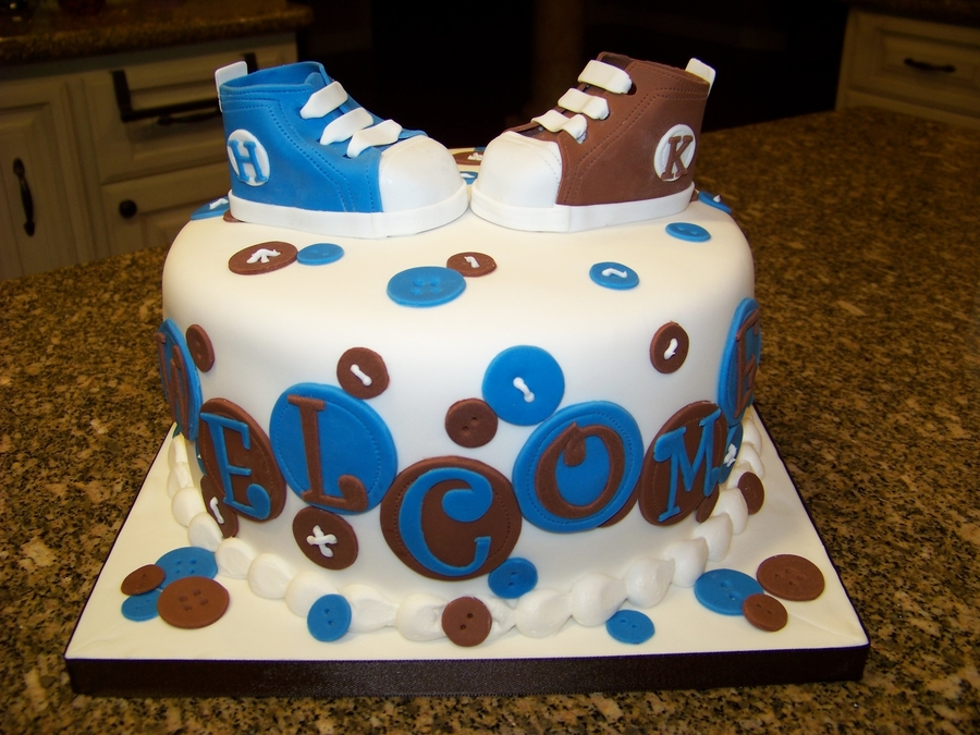Tennis Shoe Baby Shower Cake For Twins on Cake Central