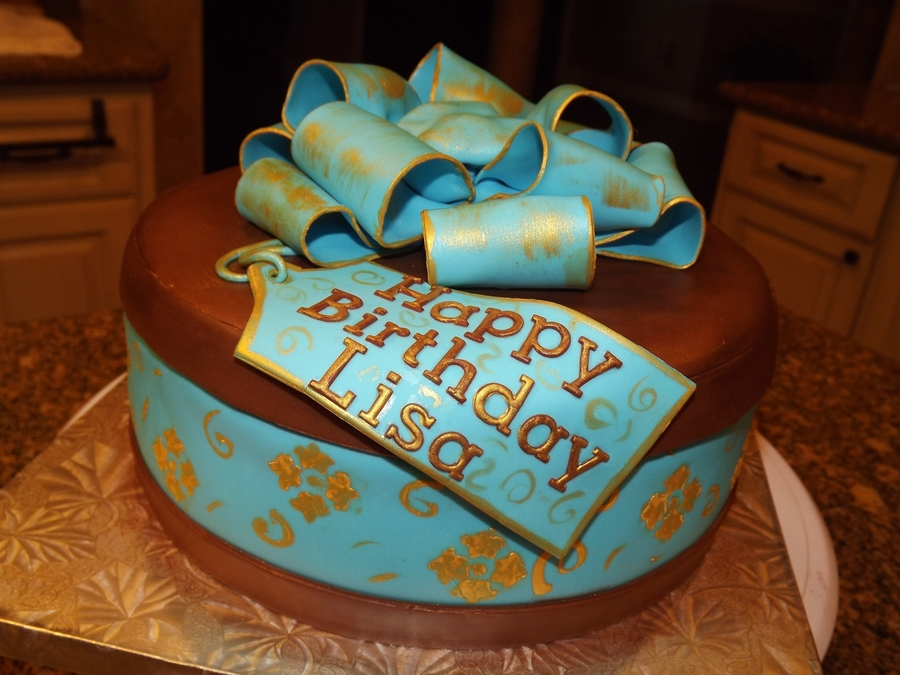 Birthday Cake With Name Tag ~ Blue and brown gift box cake cakecentral