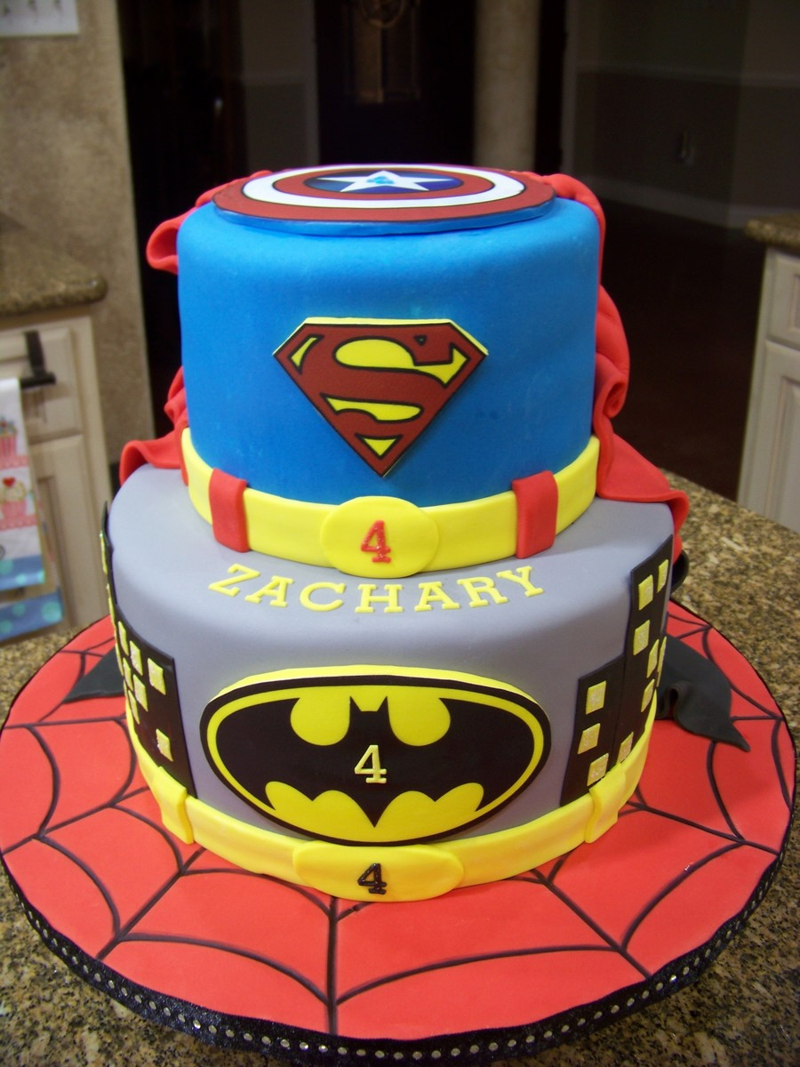 Superhero Cake Spiderman Batman Superman & Captain