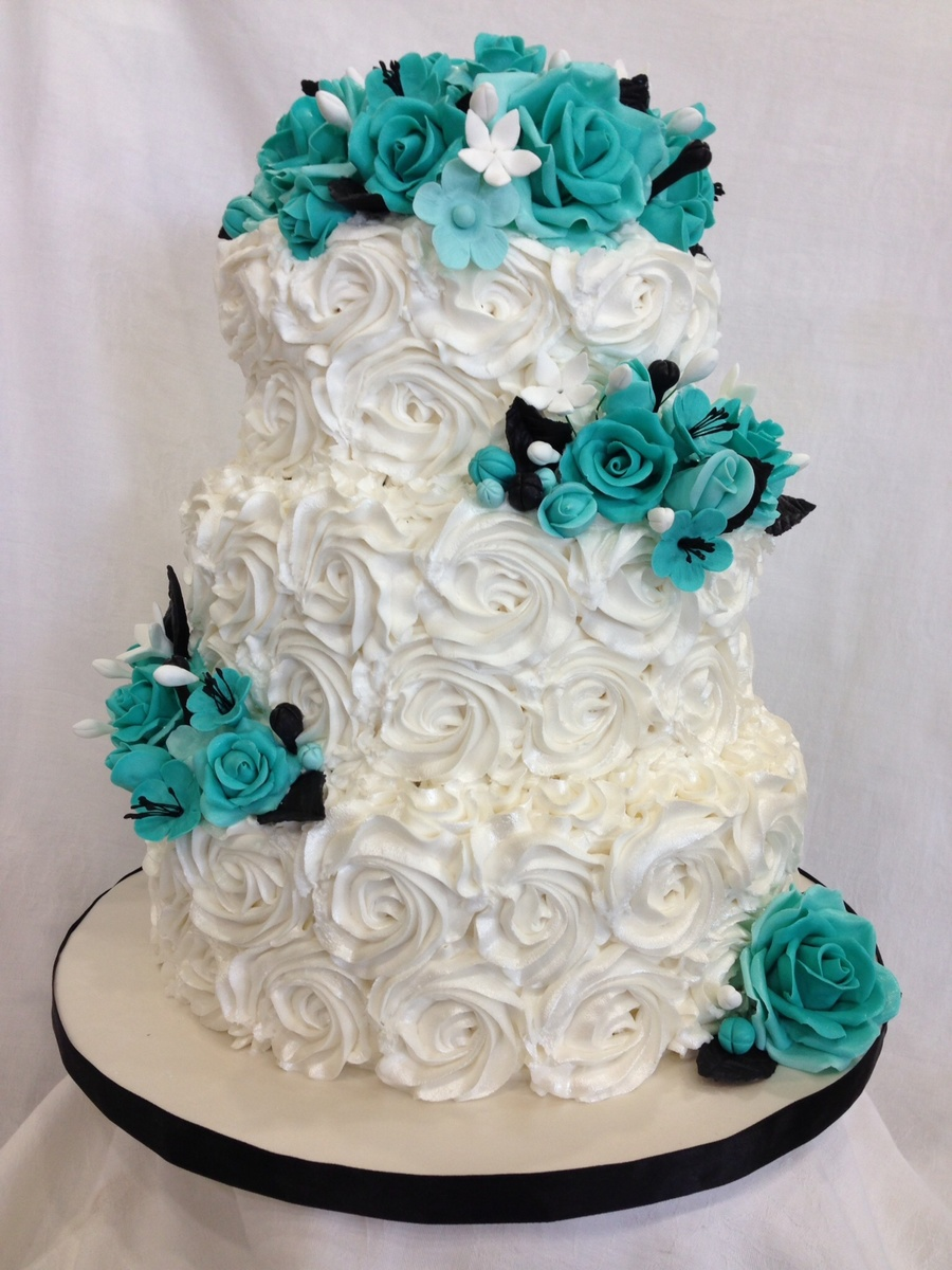 Rosette Cake With Turquoise Roses Cakecentral