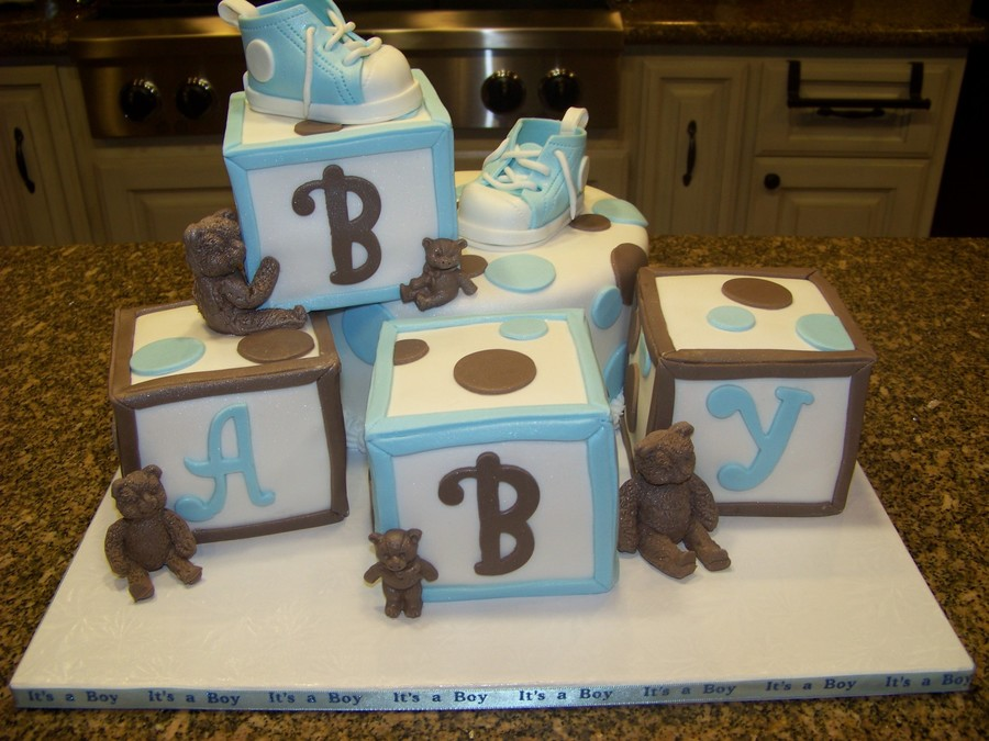 Blocks & Bears Baby Shower Cake - CakeCentral.com