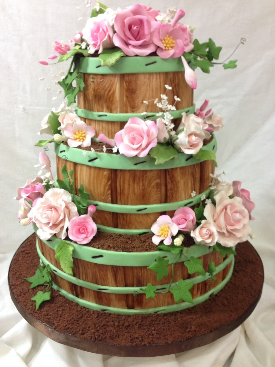 Flower Barrels With Roses Cakecentral Com
