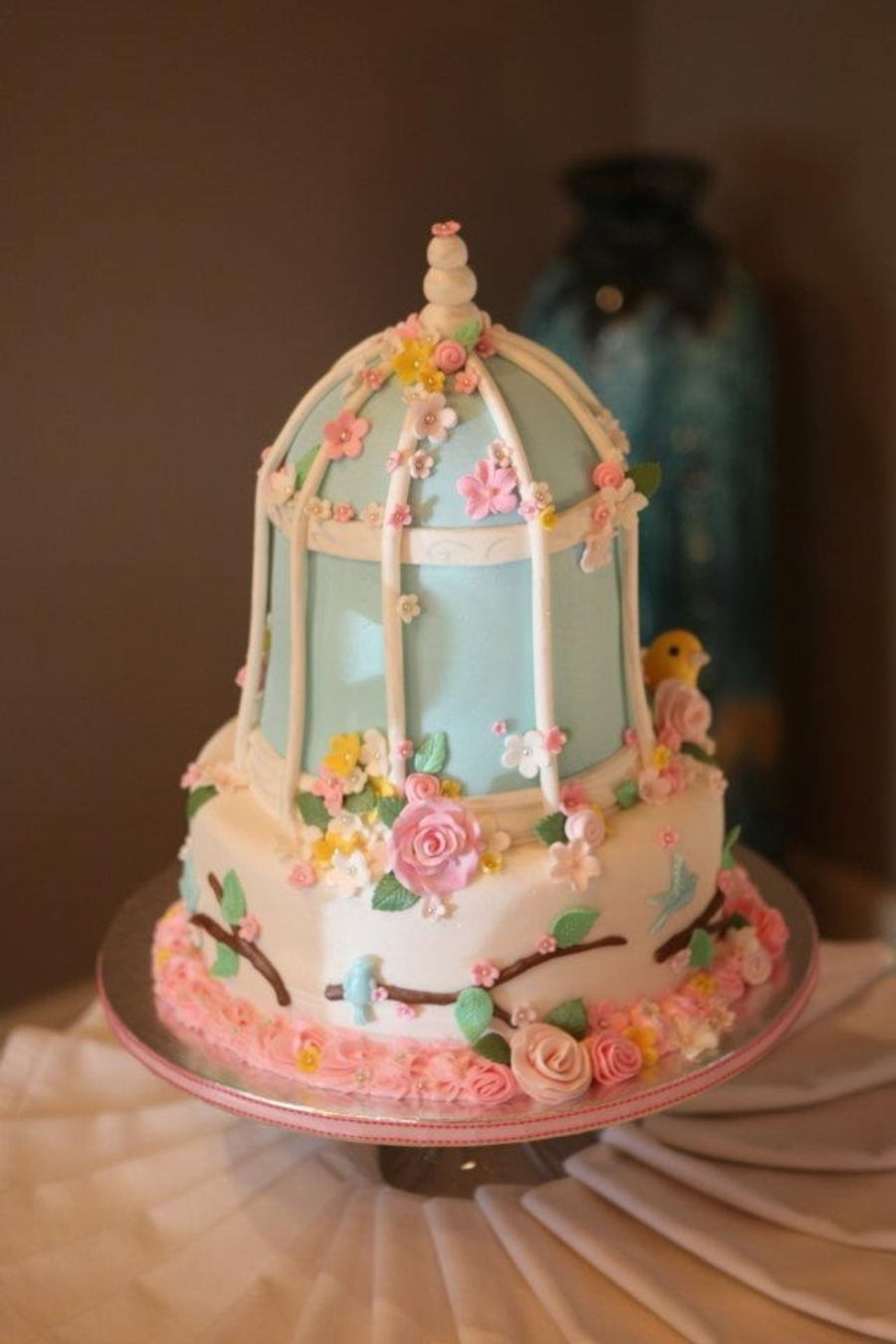 Shaby Chic Birdcage Baby Shower Cake on Cake Central