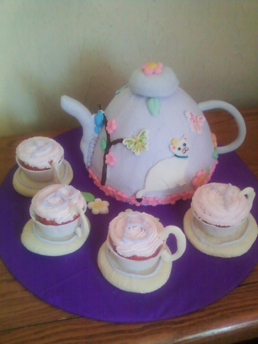 Teapot With Cupcake Teacups on Cake Central