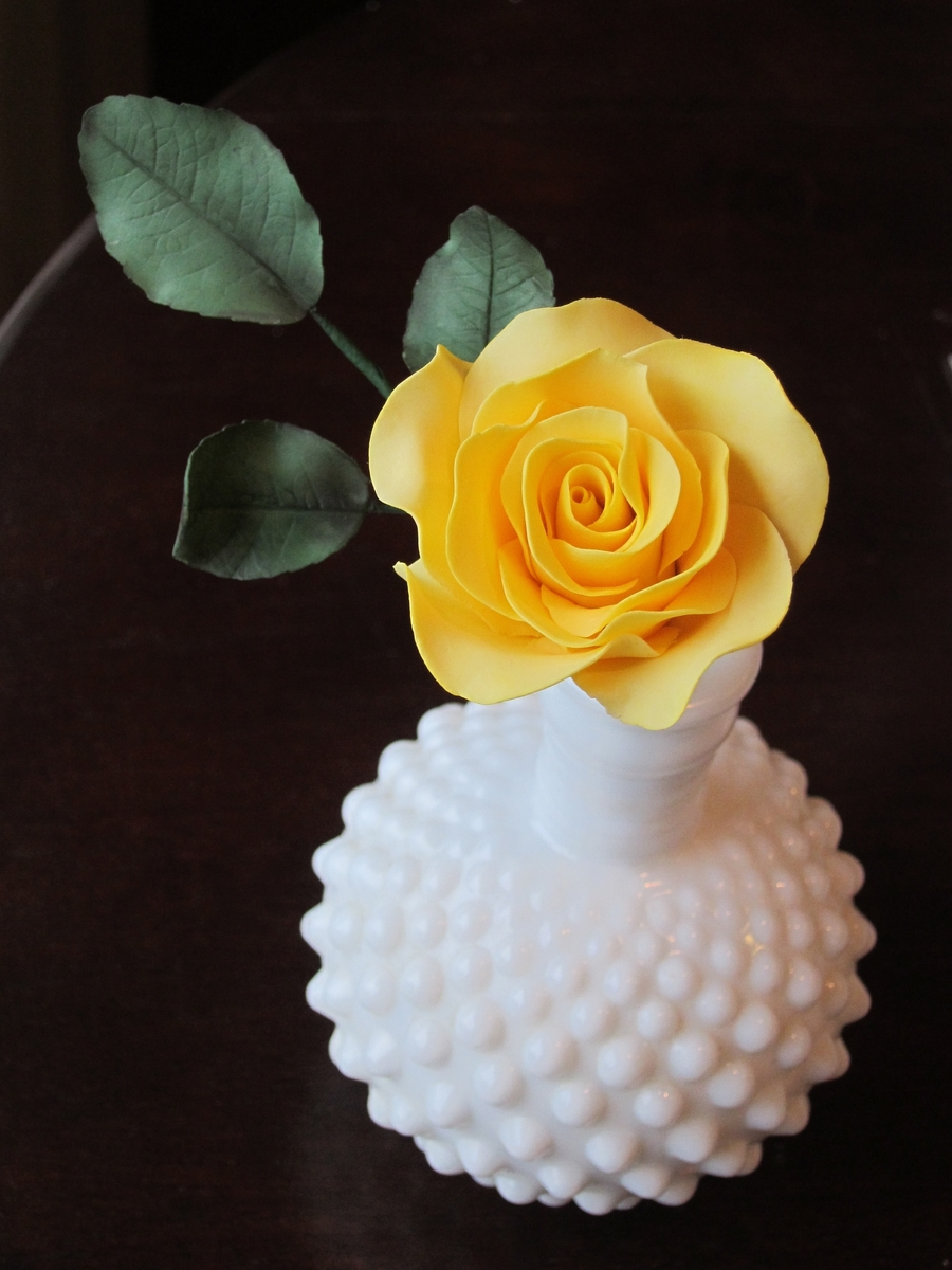 Yellow Rose In Milk Glass on Cake Central
