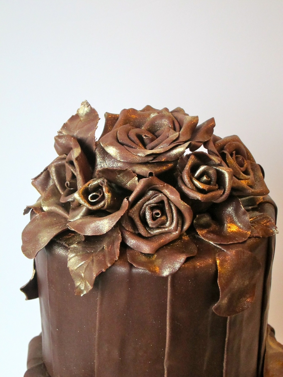 Chocolate Gilded Roses Cake - CakeCentral.com