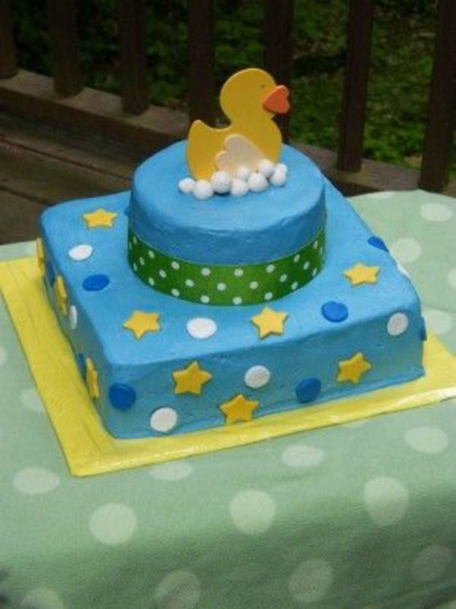 Ducky W/ Dots And Stars on Cake Central
