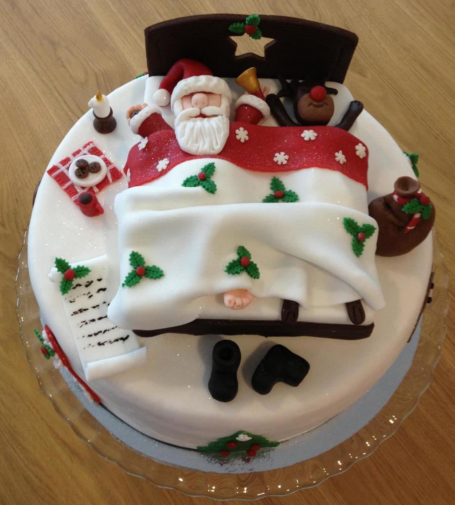 Christmas Cake Decoration Santa : Santa Claus Sleeping - CakeCentral.com